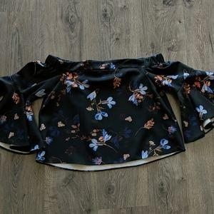 Top Shop Dark Floral Off the Shoulder Top - Size 6